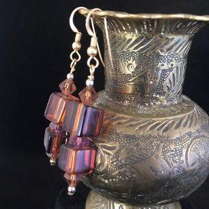 Lampwork Bead Earrings Purple and Orange